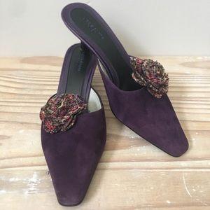 Liz Claiborne Flex Purple Suede Slides With Flower